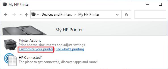 Customize your Printer Option