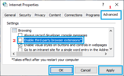 Disable Third Party Browser Extensions