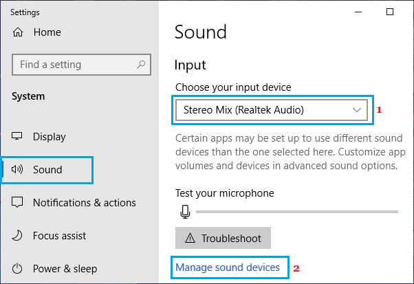 Manage Sound Devices Option in Windows