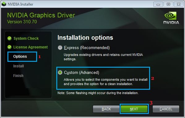 NVIDIA Graphics Driver Custom Installation Option