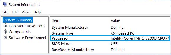 Processor Model Number on Windows System Information Screen