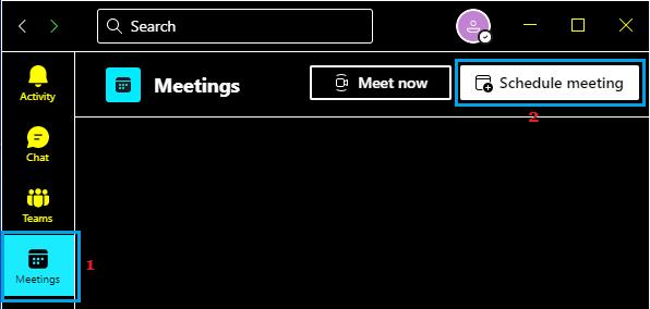 Schedule Meeting Option in Microsoft Teams