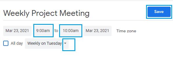 Select Recurring Meeting Option in Microsoft Teams