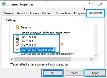 Enable All TLS Options on Internet Properties Screen