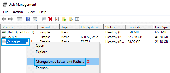 Change Drive Letter and Paths Option in Windows