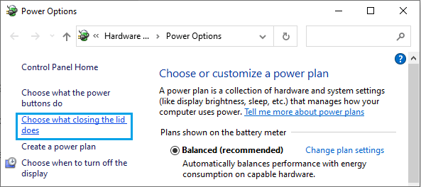 Choose What Closing the Lid Does Option in Windows