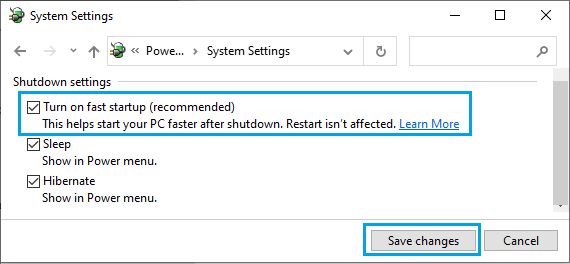 Turn ON Fast Startup Option in Windows