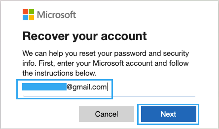 Enter Email to Recover Microsoft Account