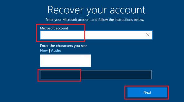 Recover Microsoft Account Password Screen