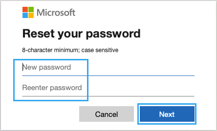 Enter New Microsoft Account Password