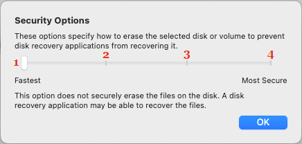 Security Options to Format Disk on Mac