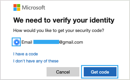Select Email Address to Recieve Security Code
