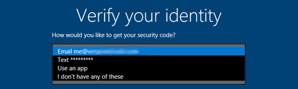 Select Email Address to Get Security Code
