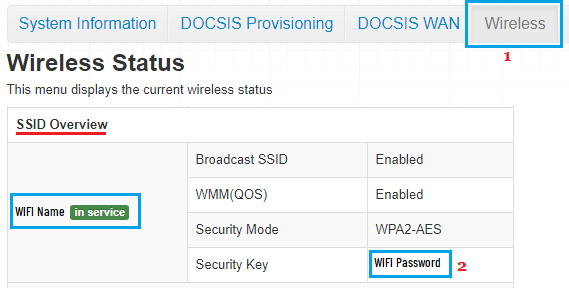Wifi Password in Router Settings