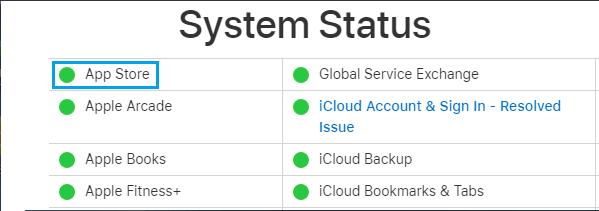 App Store System Status