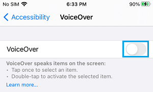 Disable VoiceOver on iPhone
