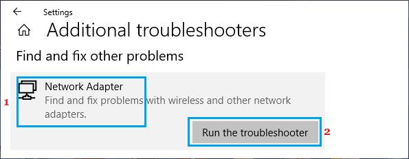 Run Network Adaper Troubleshooter