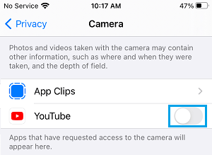Disable Camera Access to Apps on iPhone