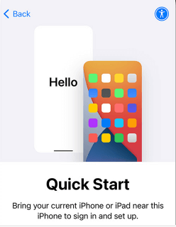 Quick Start Screen on iPhone