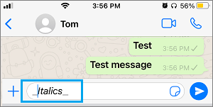 Write Text in Italics on WhatsApp