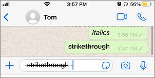 Strikethrough in WhatsApp
