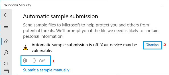 Disable Automatic Sample Submission in Windows Security
