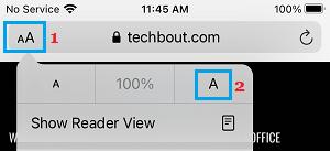 Increase Font Size Option on iPhone Safari Browser