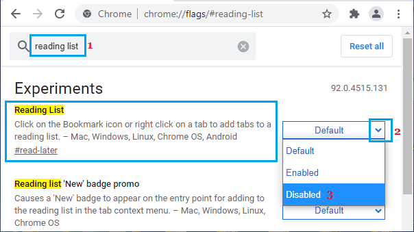 Disable Reading List in Google Chrome
