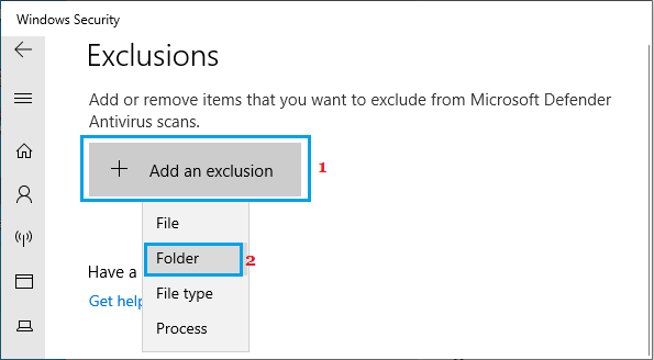 Add Folder to Exclusion Option in Windows Security