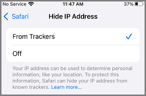 Hide IP Address from Trackers on iPhone Safari Browser
