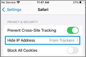 Hide IP Address Option on iPhone Safari