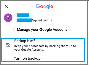 Google Photos Backup Status on Android Phone