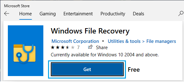 Download Windows File Recovery