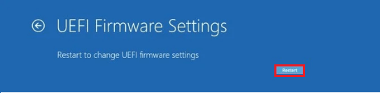 Go to UEFI Settings Screen