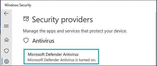 Microsoft Defender Turned ON