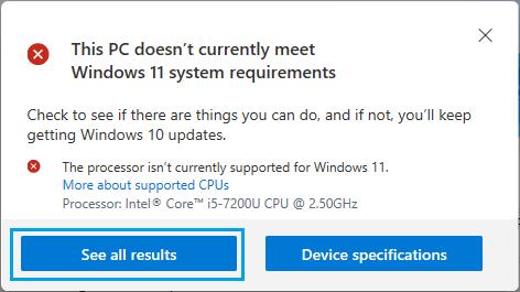 PC Health Check Results