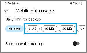 Set Daily Upload Limit Using Mobile Data in Google Photos