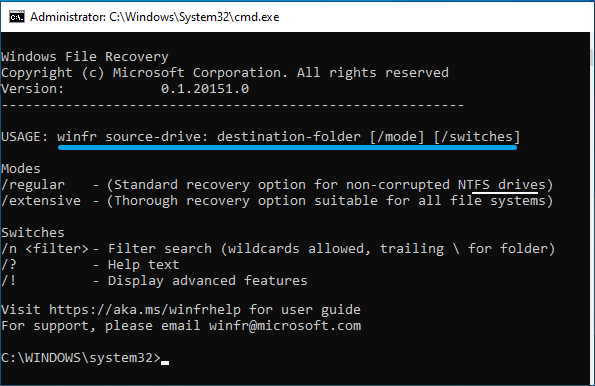 Windows File Recovery Usage Instructions