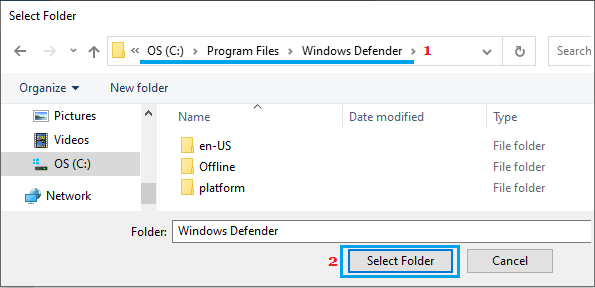 Add Windows Defender Folder to Exclusion