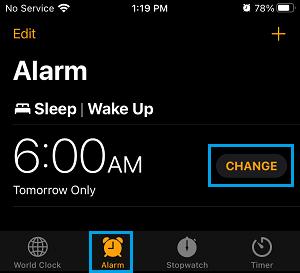 Change Alarm Option on iPhone Clock App