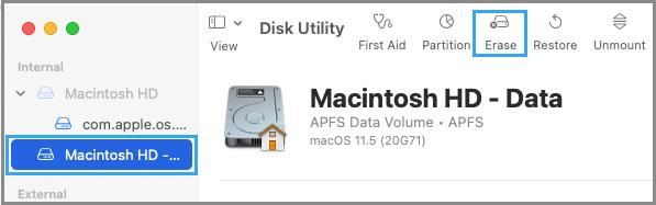 Erase Macintosh HD Using Disk Utility