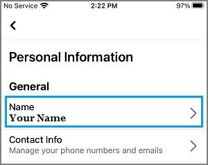 Facebook Name Settings Option
