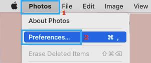 Open Photos Prefrences on Mac