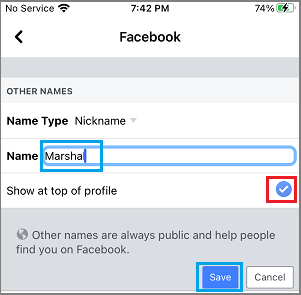 Type and Save Facebook Nickname